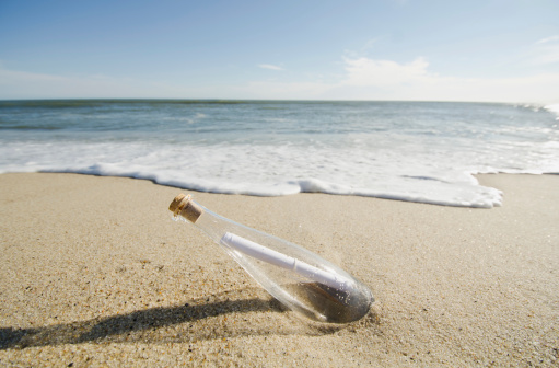 USA, Massachusetts, Nantucket, Message in bottle